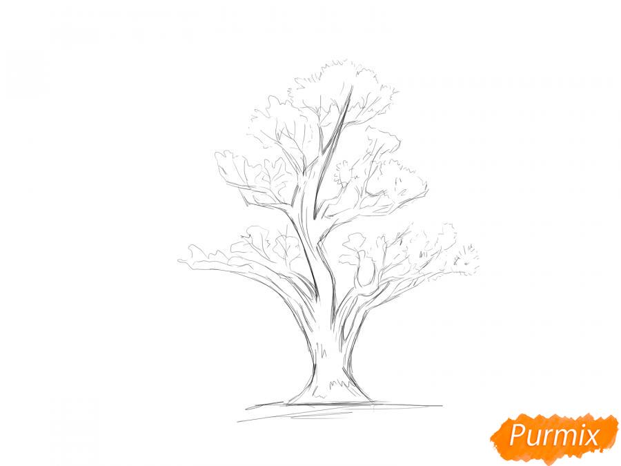 Рисуем чайное дерево весной - шаг 5