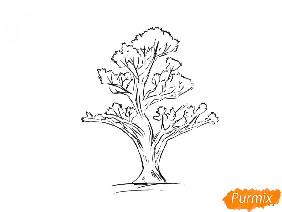 Рисуем чайное дерево весной - шаг 6