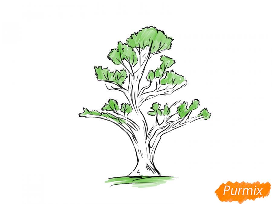 Рисуем чайное дерево весной - шаг 7
