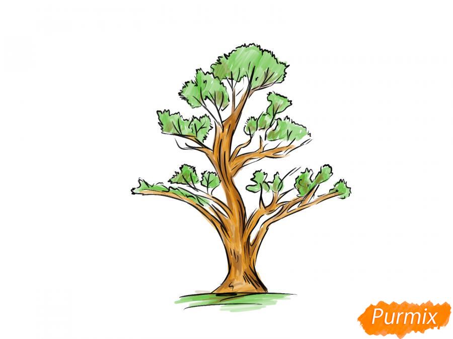 Рисуем чайное дерево весной - шаг 8