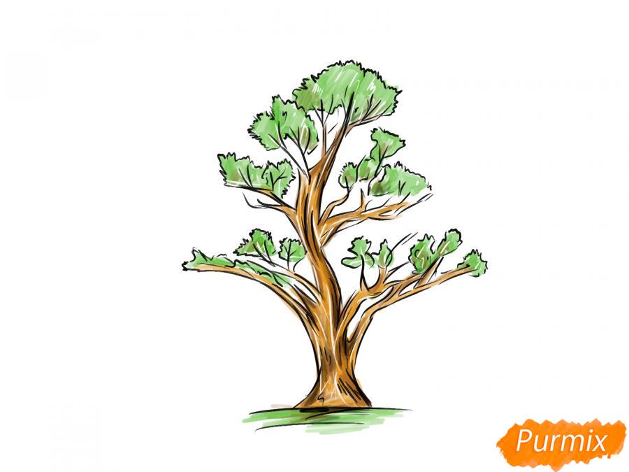 Рисуем чайное дерево весной - шаг 9