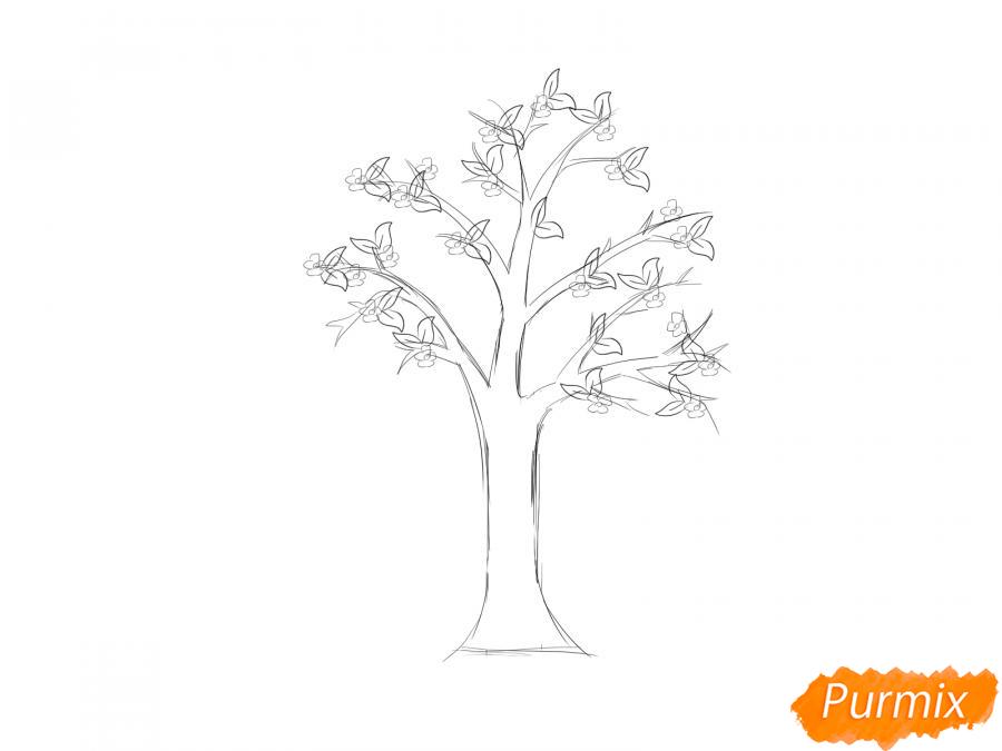 Рисуем цветущую яблоню весной - шаг 4