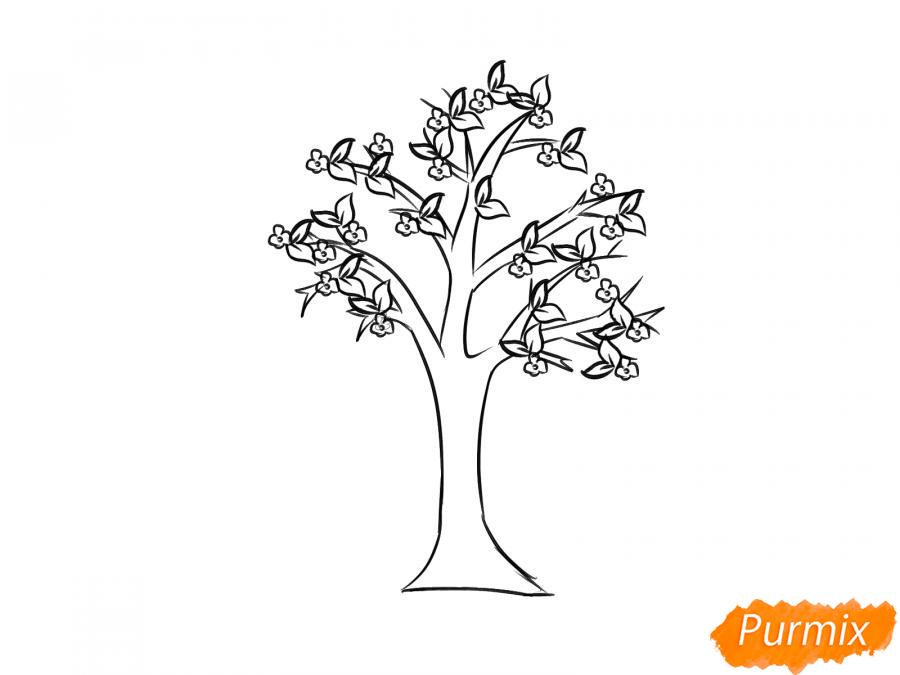 Рисуем цветущую яблоню весной - шаг 5