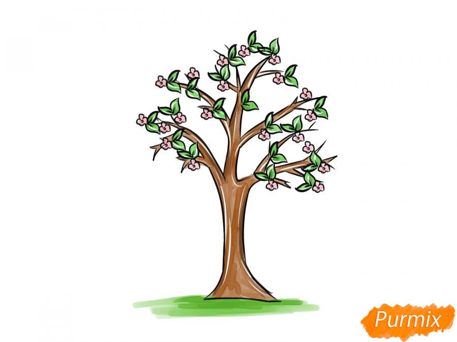 Рисуем цветущую яблоню весной - шаг 8