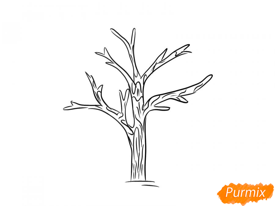 Рисуем дерево без листьев - шаг 4