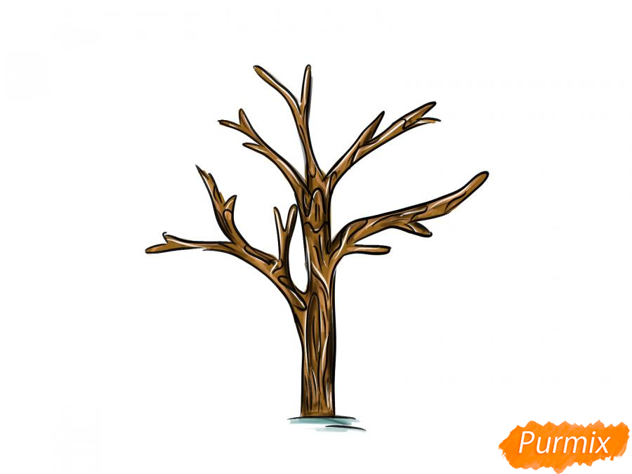 Рисуем дерево без листьев - шаг 8