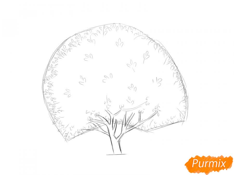 Рисуем дерево грецкого ореха осенью - шаг 4