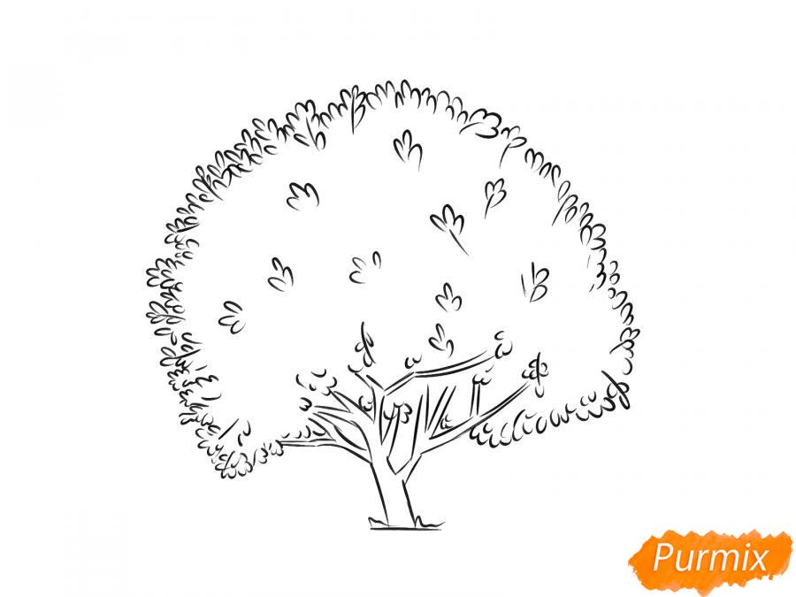 Рисуем дерево грецкого ореха осенью - шаг 5