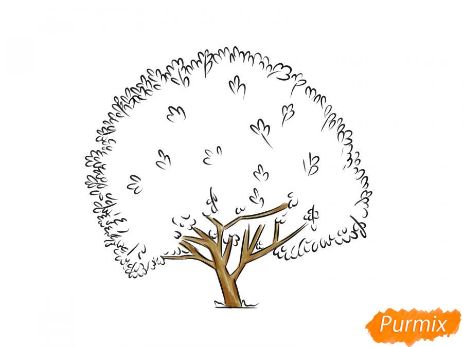 Рисуем дерево грецкого ореха осенью - шаг 6