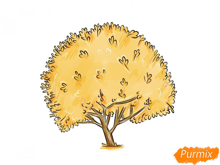 Рисуем дерево грецкого ореха осенью - шаг 8
