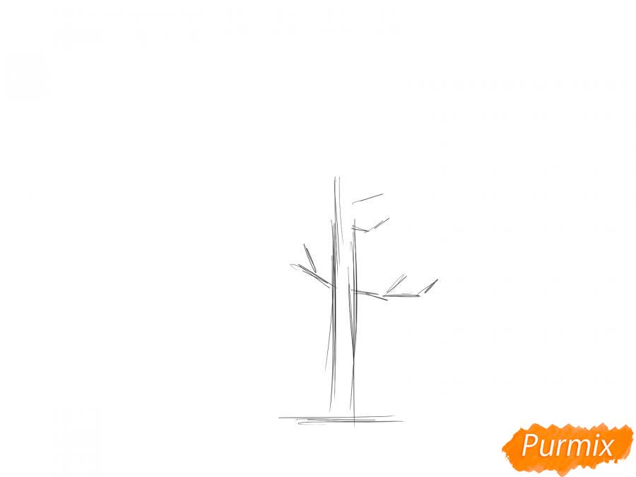 Рисуем дерево каштан - шаг 1