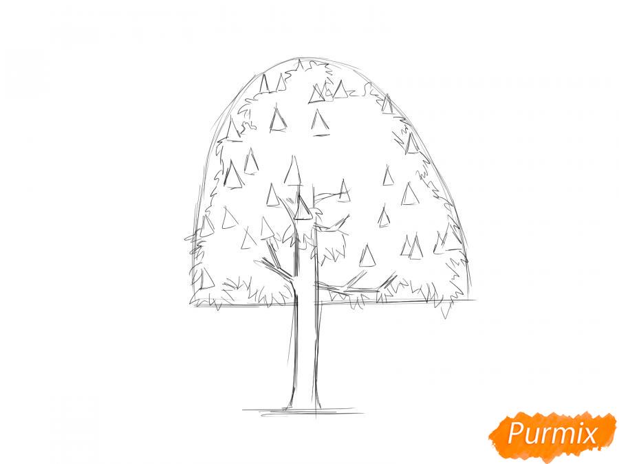 Рисуем дерево каштан - шаг 3