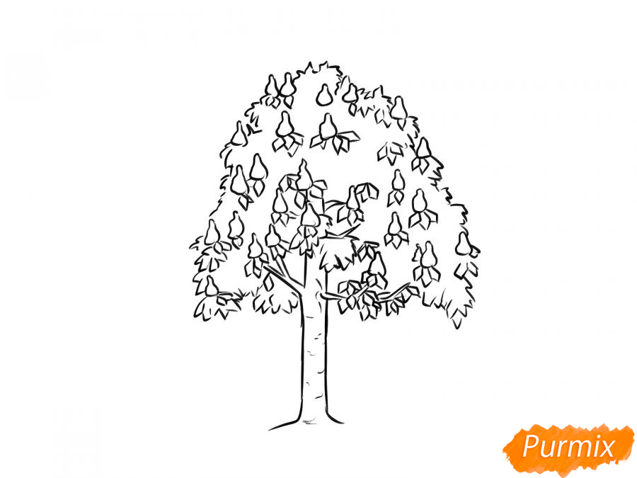 Рисуем дерево каштан - шаг 4
