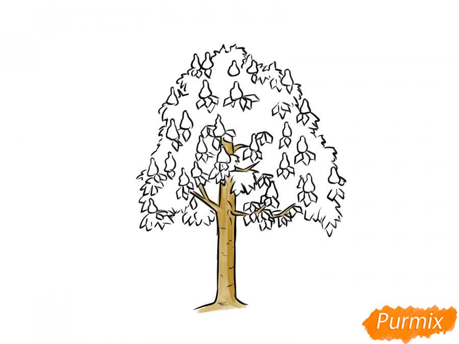 Рисуем дерево каштан - шаг 5