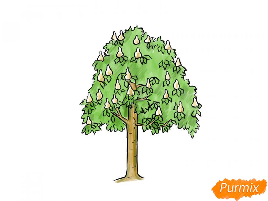 Рисуем дерево каштан - шаг 7
