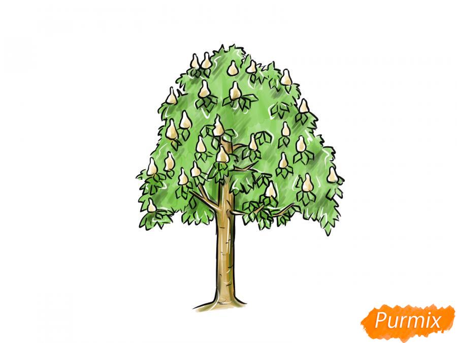 Рисуем дерево каштан - шаг 8