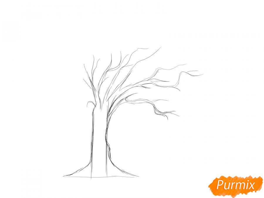 Рисуем дерево под ветром - шаг 3