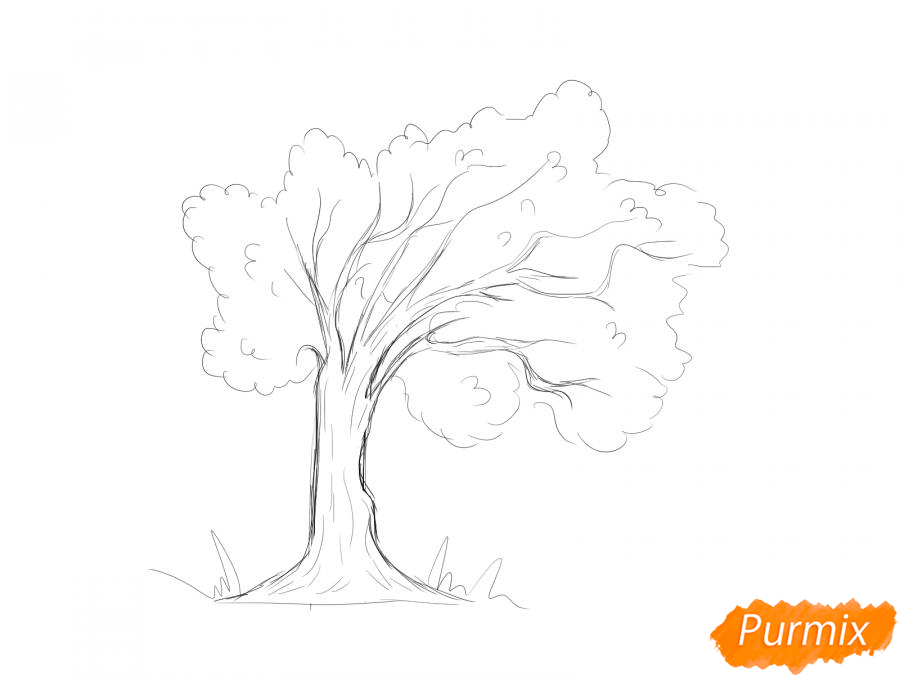 Рисуем дерево под ветром - шаг 4