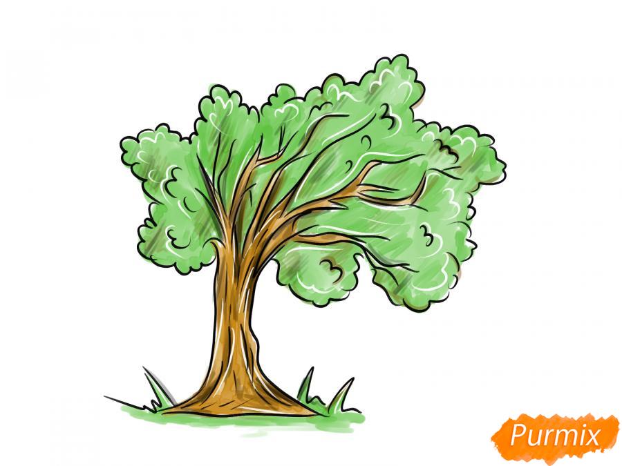 Рисуем дерево под ветром - шаг 9