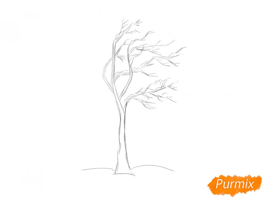 Рисуем дерево под ветром зимой - шаг 3