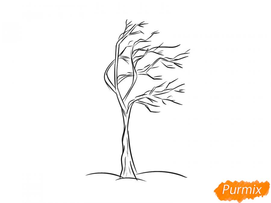 Рисуем дерево под ветром зимой - шаг 4