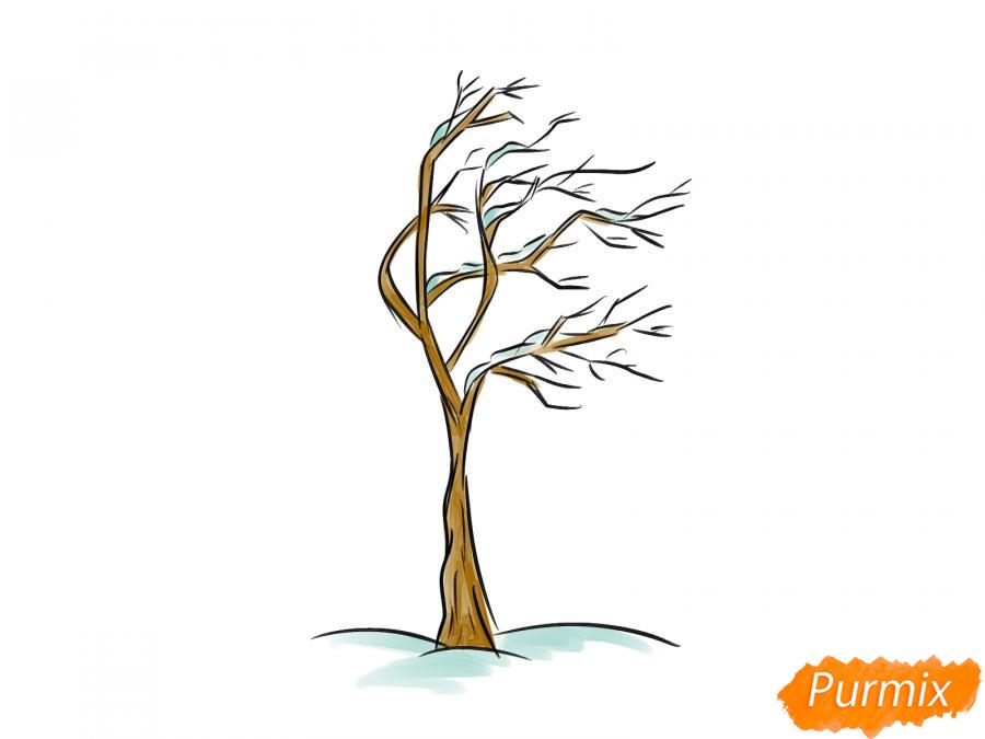 Рисуем дерево под ветром зимой - шаг 6