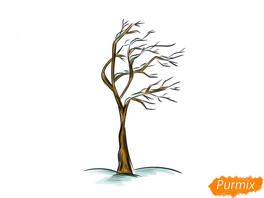 Рисуем дерево под ветром зимой - шаг 7