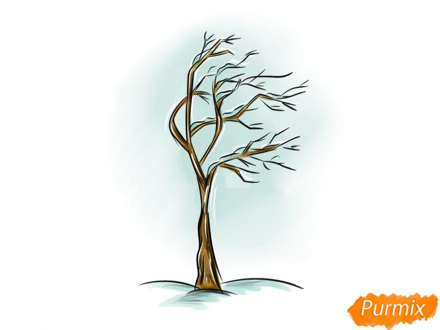 Рисуем дерево под ветром зимой - шаг 8