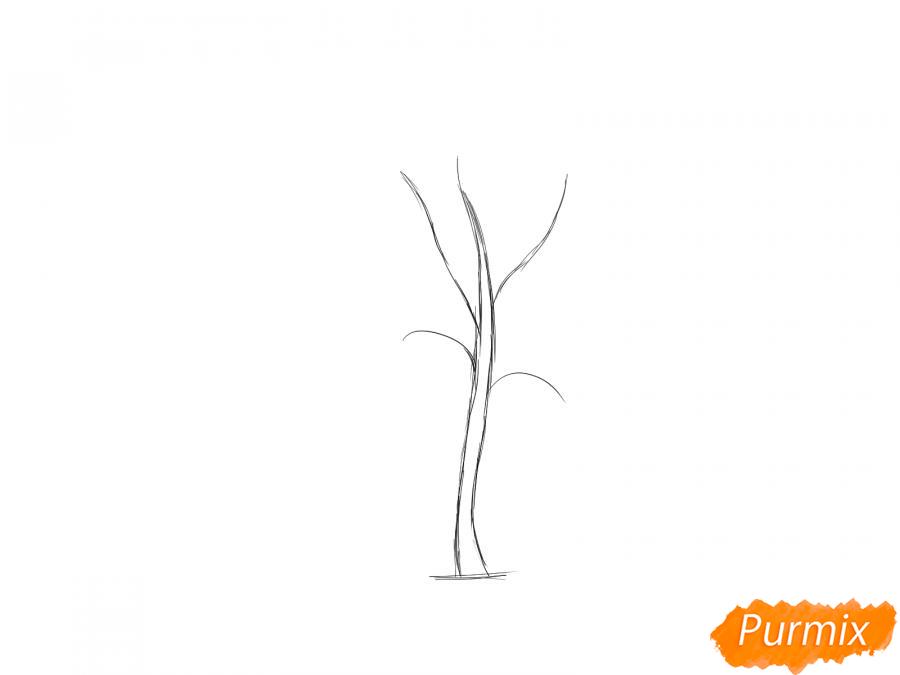 Рисуем дерево рябины - шаг 2