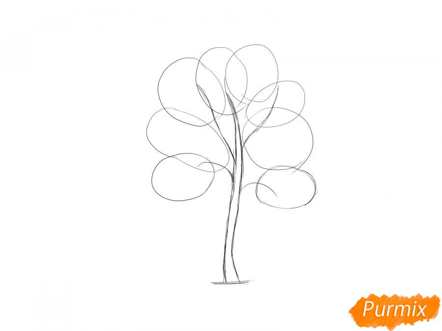 Рисуем дерево рябины - шаг 3