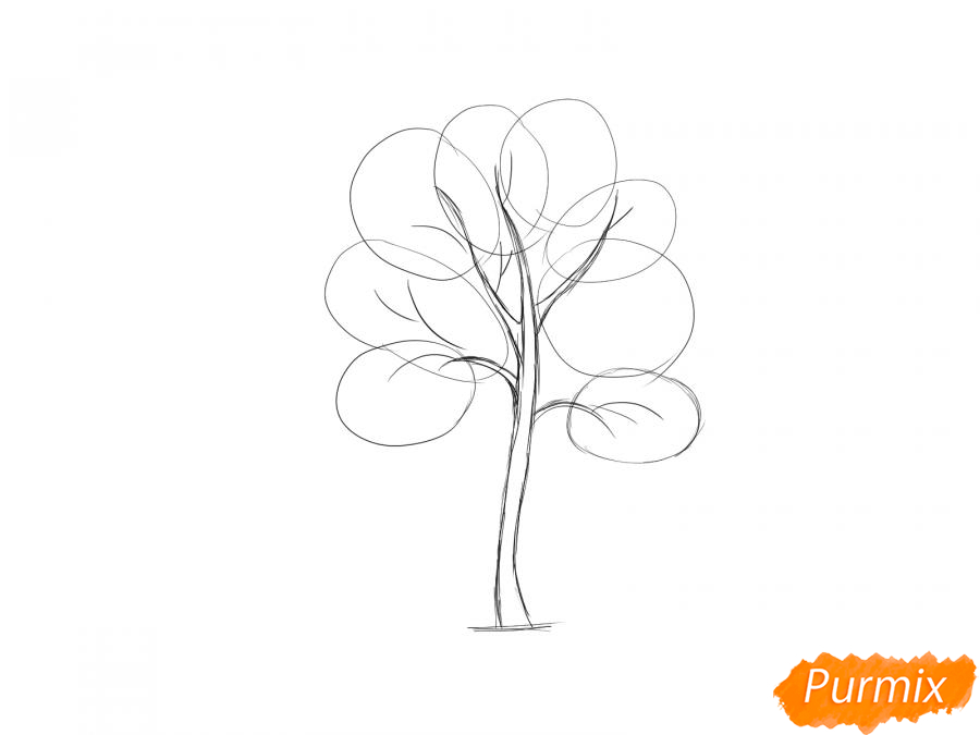 Рисуем дерево рябины - шаг 4