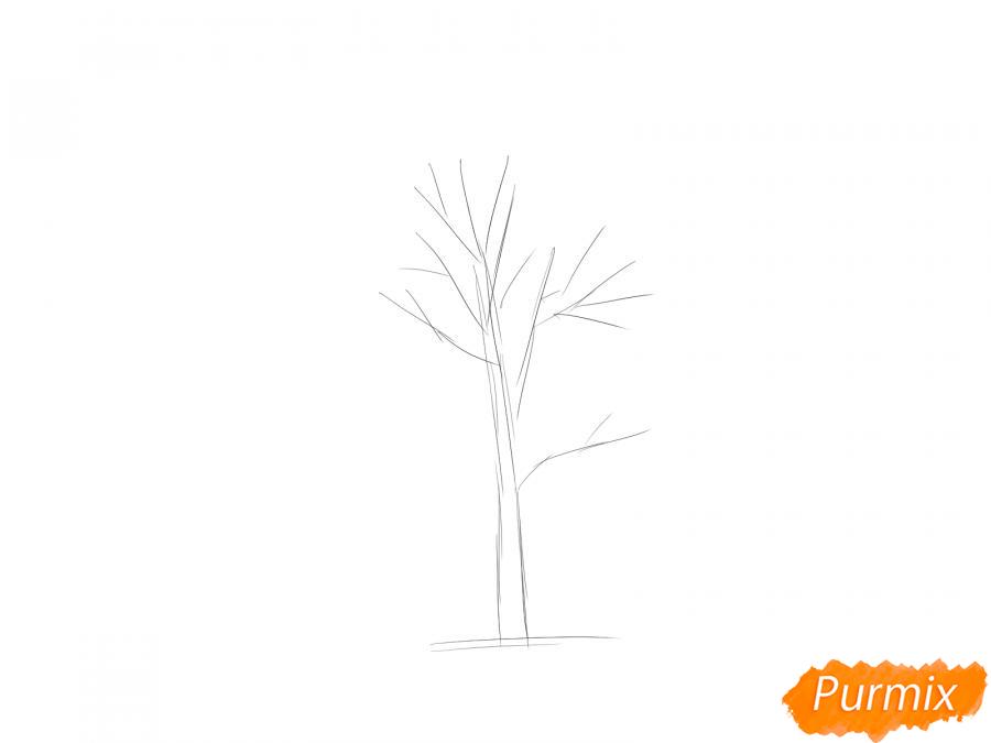 Рисуем дерево рябины осенью - шаг 2