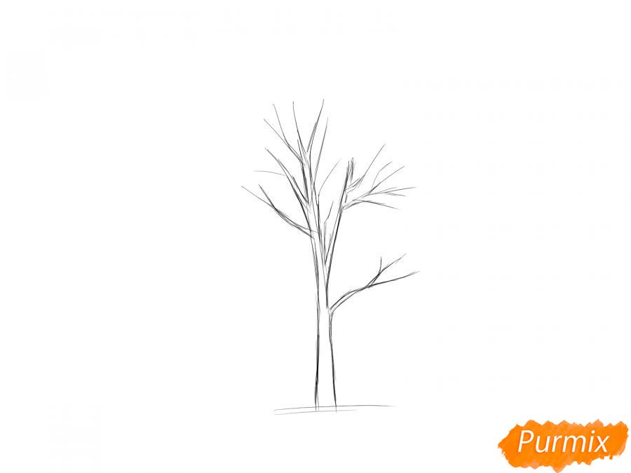 Рисуем дерево рябины осенью - шаг 3
