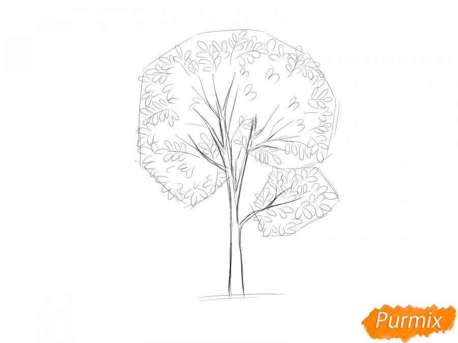Рисуем дерево рябины осенью - шаг 5