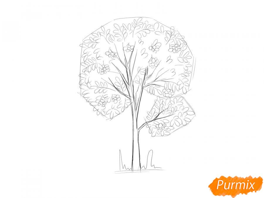 Рисуем дерево рябины осенью - шаг 6