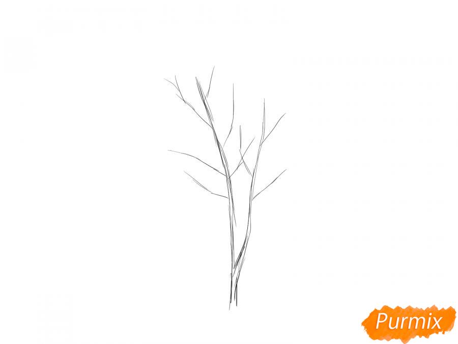 Рисуем дерево рябины зимой - шаг 2