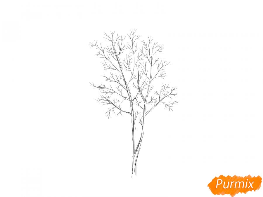 Рисуем дерево рябины зимой - шаг 3
