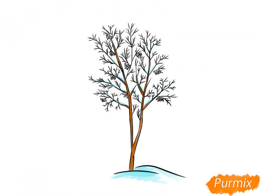Рисуем дерево рябины зимой - шаг 8