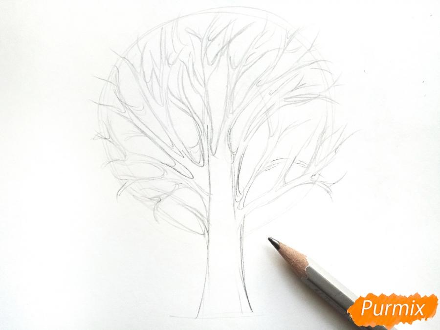 Рисуем дерево с опавшими листьями - шаг 2
