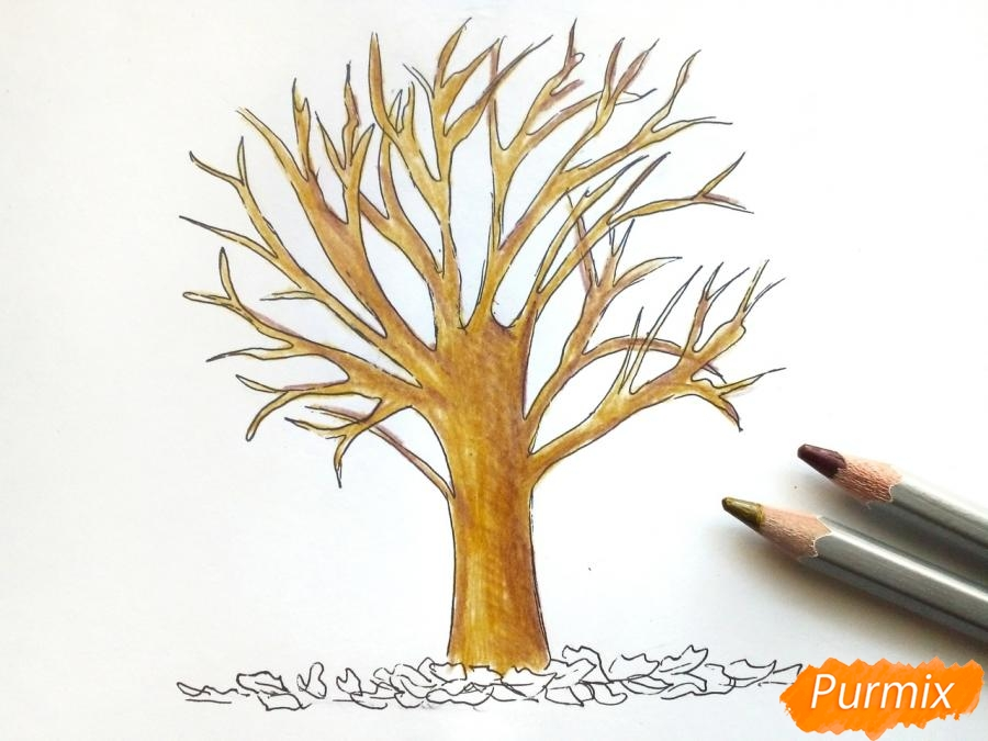 Рисуем дерево с опавшими листьями - шаг 5