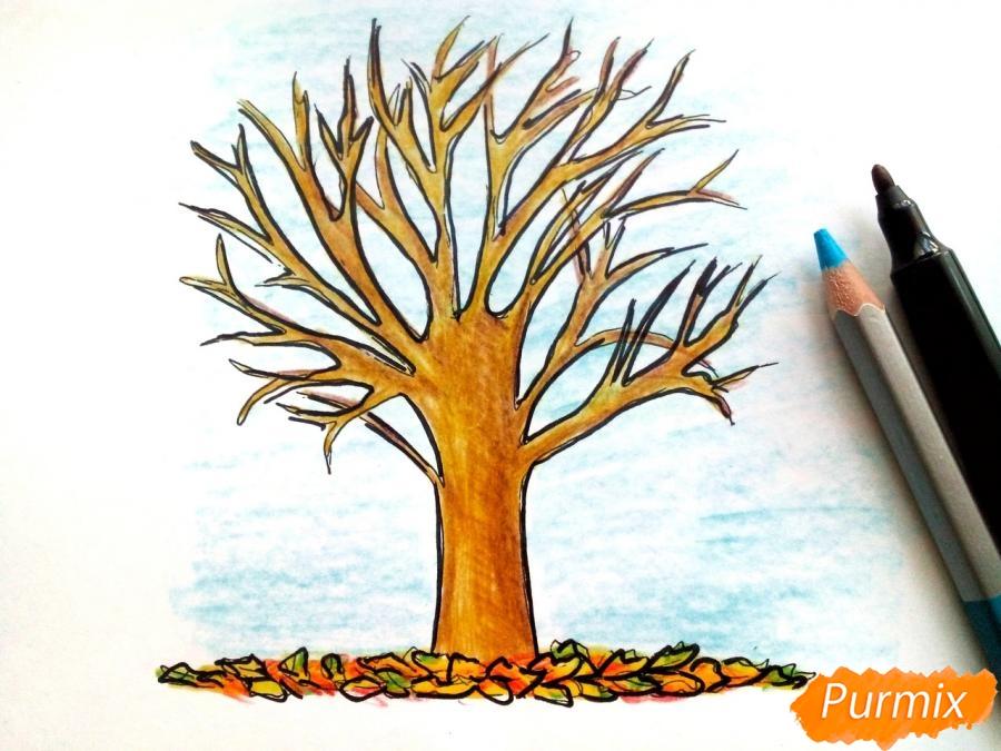 Рисуем дерево с опавшими листьями - шаг 7