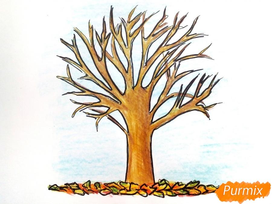 Рисуем дерево с опавшими листьями - шаг 8