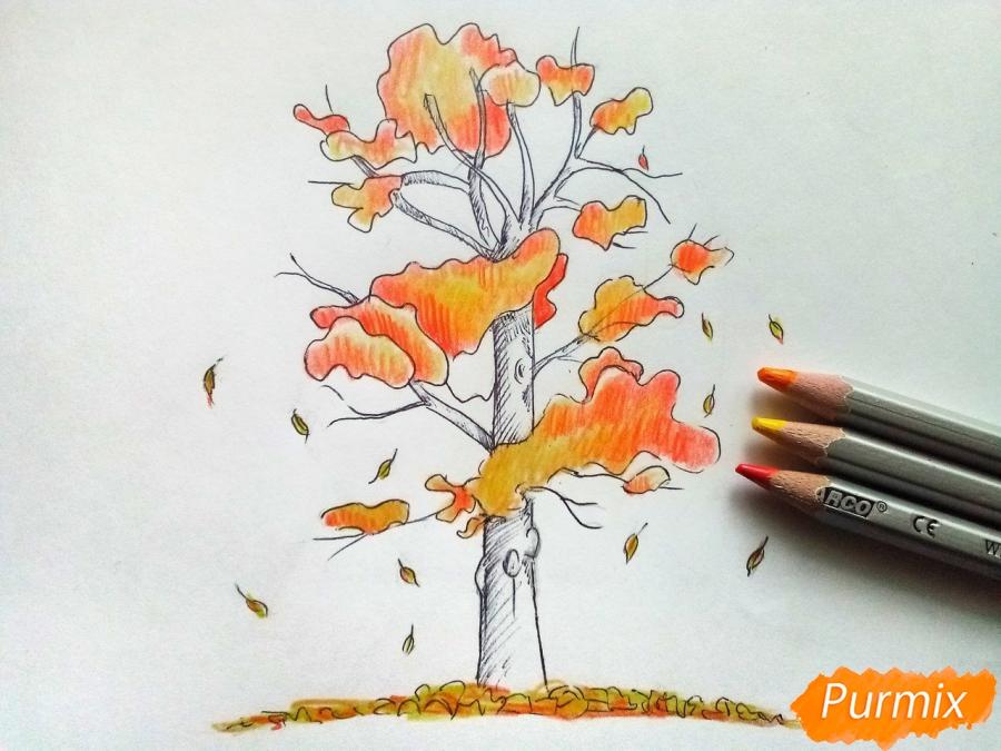Рисуем дерево с падающими листьями - шаг 5