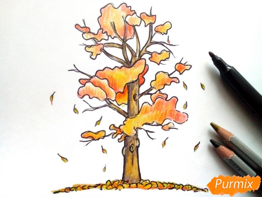 Рисуем дерево с падающими листьями - шаг 6