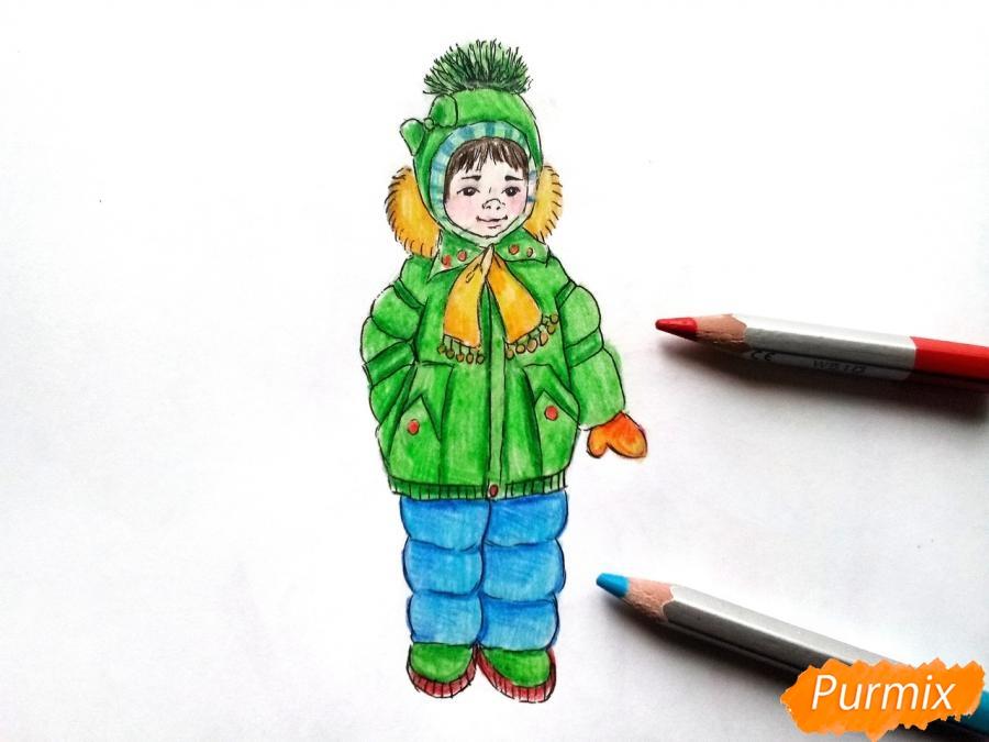 Рисуем девочку в зимней одежде карандашами - шаг 10