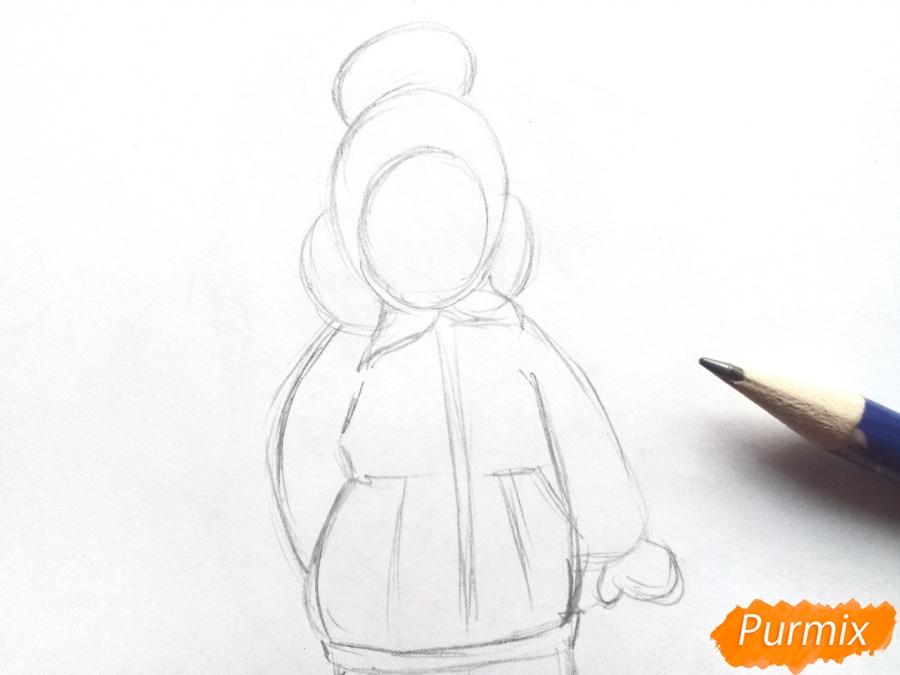 Рисуем девочку в зимней одежде карандашами - шаг 2
