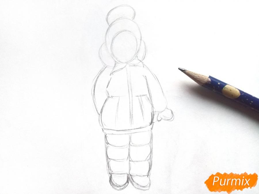 Рисуем девочку в зимней одежде карандашами - шаг 3
