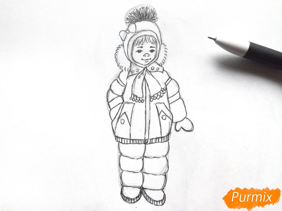 Рисуем девочку в зимней одежде карандашами - шаг 6