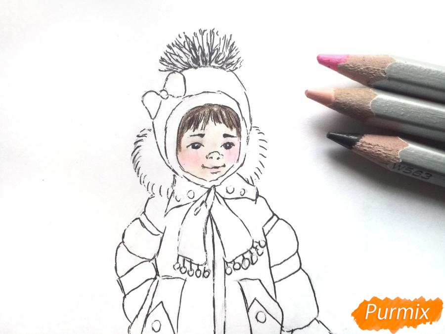 Рисуем девочку в зимней одежде карандашами - шаг 7