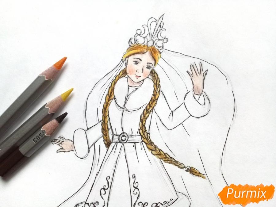 Рисуем зиму в виде девушки - шаг 7